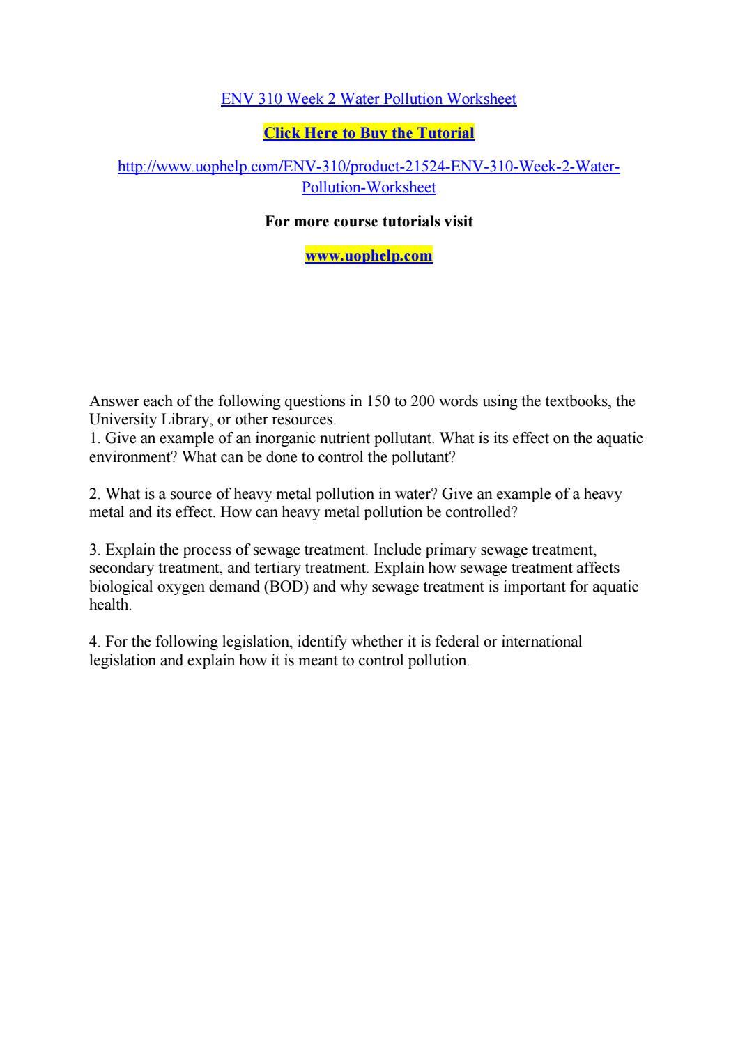 Worksheets Water Pollution Worksheet env 310 week 2 water pollution worksheet by bluebell774 issuu