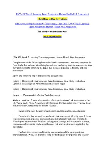 Env 420 Week 2 Learning Team Assignment Human Health Risk