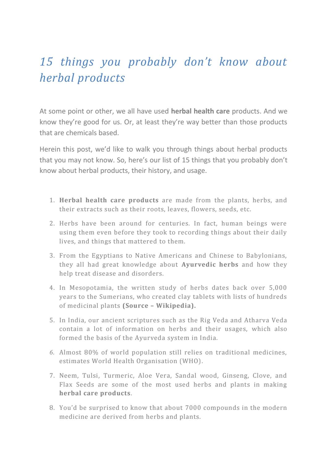 Care from health herbal india product - 15 Things You Probably Don T Know About Herbal Health Care Products By Amishi Naturals Private Limited Issuu