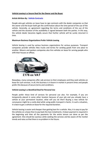 Vehicle Leasing Is A Secure Deal For The Owner And The Buyer By