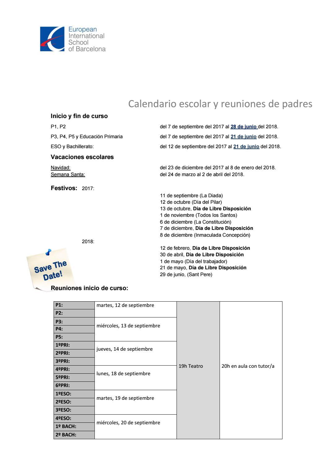 Calendario Escolar Barcelona.Calendario Escolar 2017 2018 By Europa International School Issuu