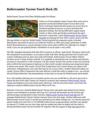 Rollercoaster Tycoon Touch Hack (9)    by roy8stout0 - issuu