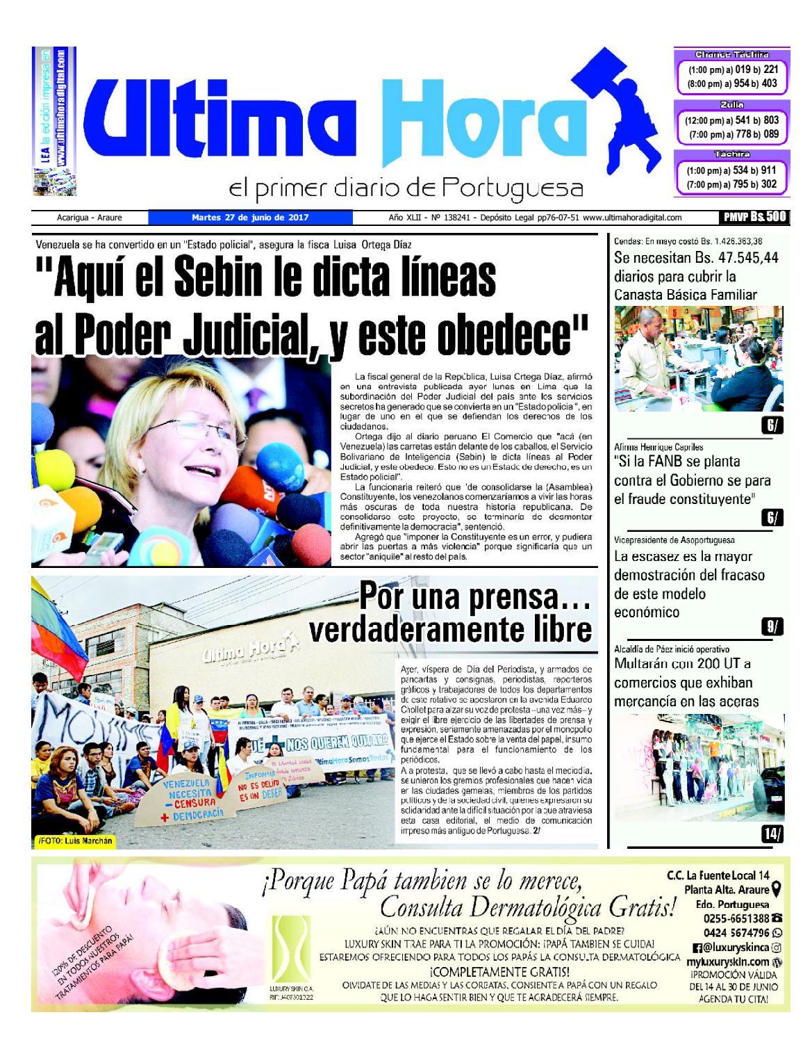 Edicion 27 06 2017 by Ultima Hora - El primer diario de Portuguesa ...