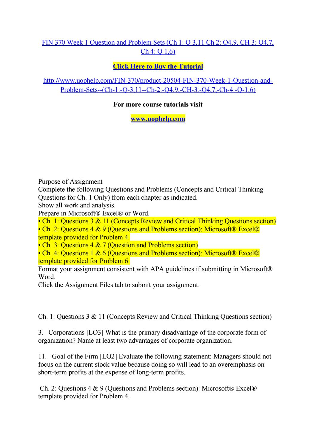 fin 370 chapter 20 problems Description fin 370 finance for business fin 370 week 1 question and problem sets complete the following questions and problems (concepts and critical thinking questions for ch 1 only.
