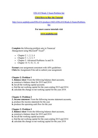 Fin 419 week 2 team problem set by bluebell782 - issuu