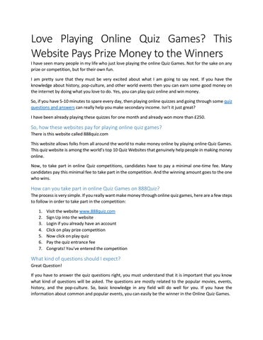 Love playing online quiz games this website pays prize money