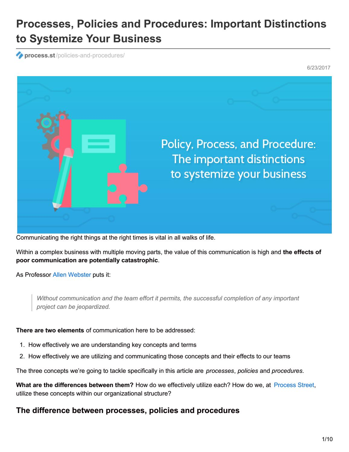 Processes, Policies and Procedures: Important Distinctions