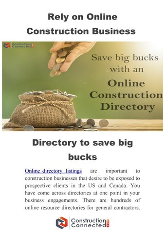 How listed in online construction business directory saves big bucks