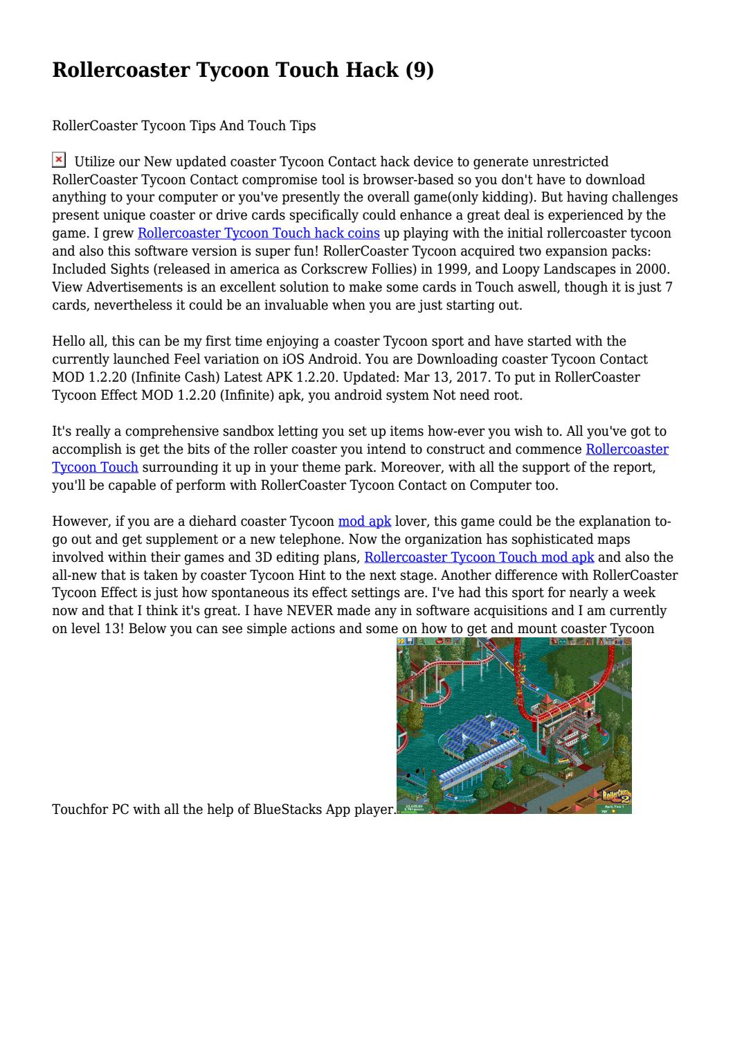 Rollercoaster Tycoon Touch Hack (9)    by derangedtwiligh46