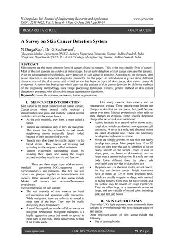 A Survey On Skin Cancer Detection System By Ijera Editor Issuu