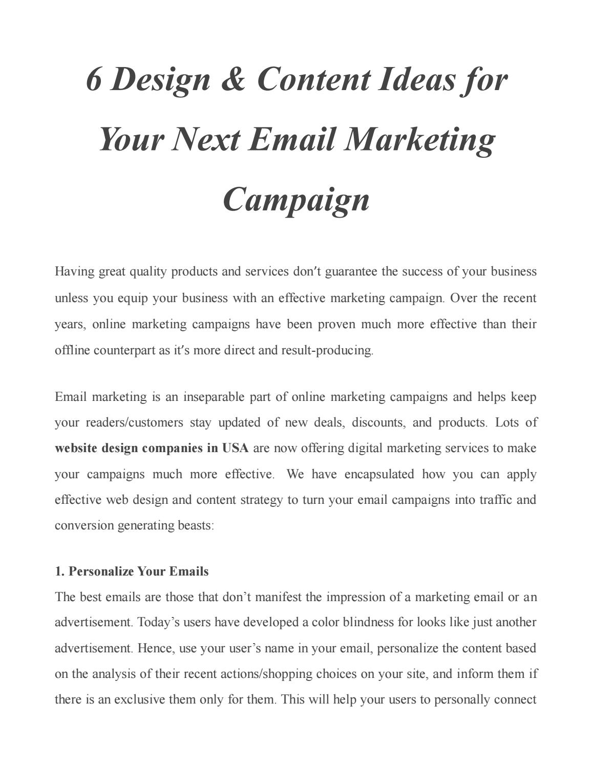 6 design & content ideas for your next email marketing campaign by