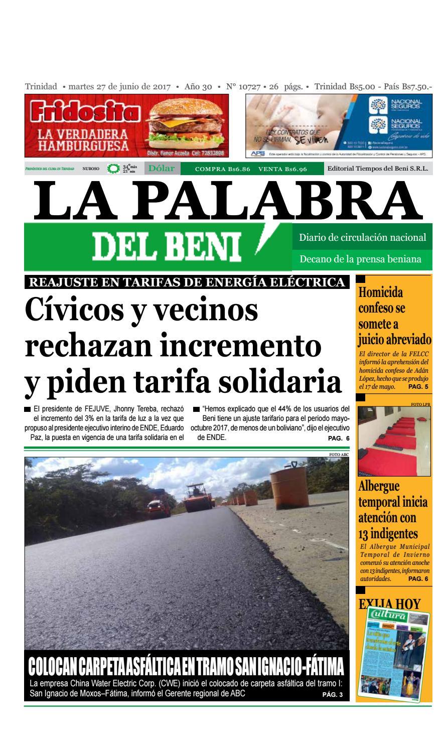 La Palabra del Beni, 27 de Junio de 2017 by La Palabra del Beni - issuu