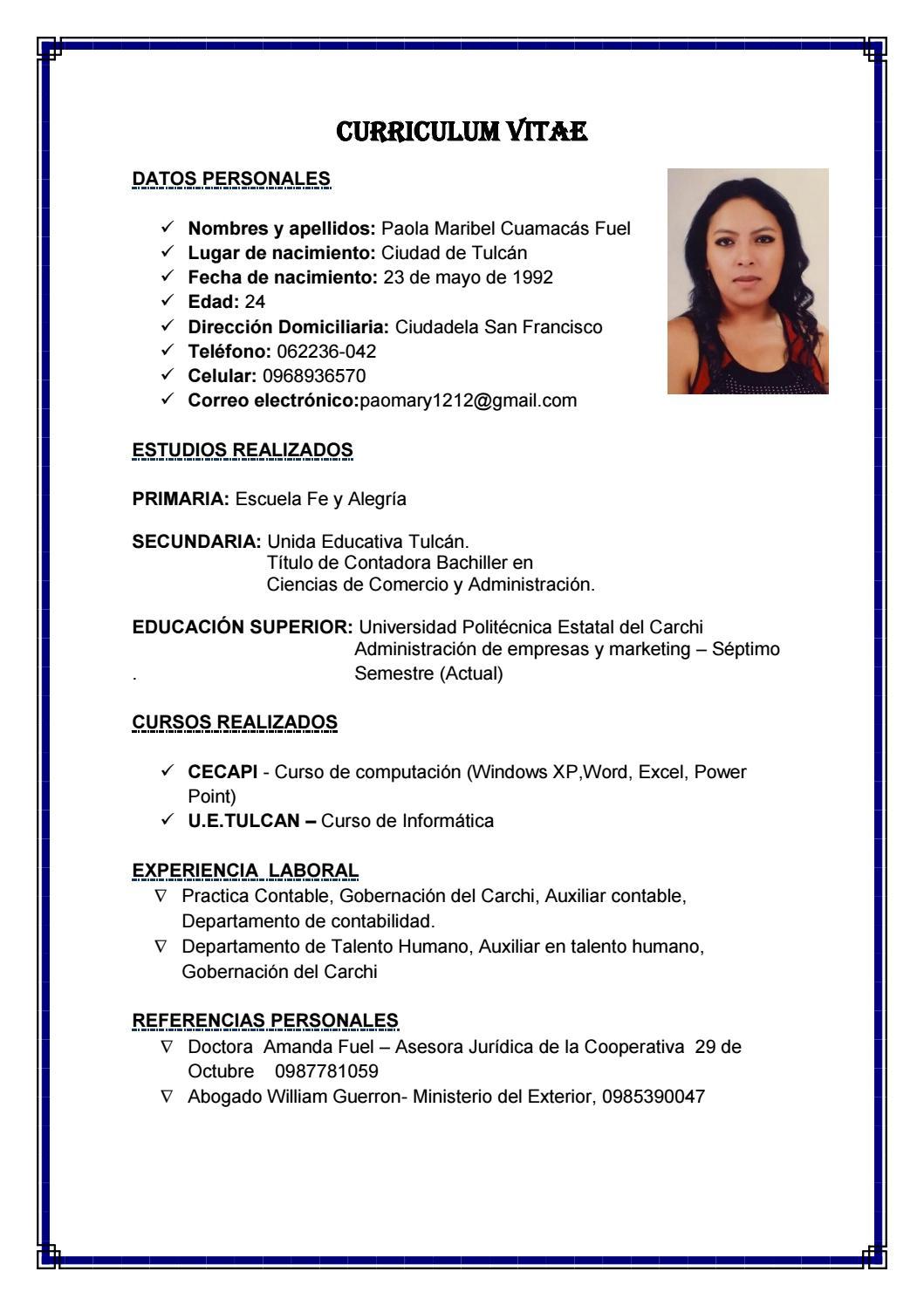 Hoja de vida pao (1) pdf by Tatys Ibarra - issuu