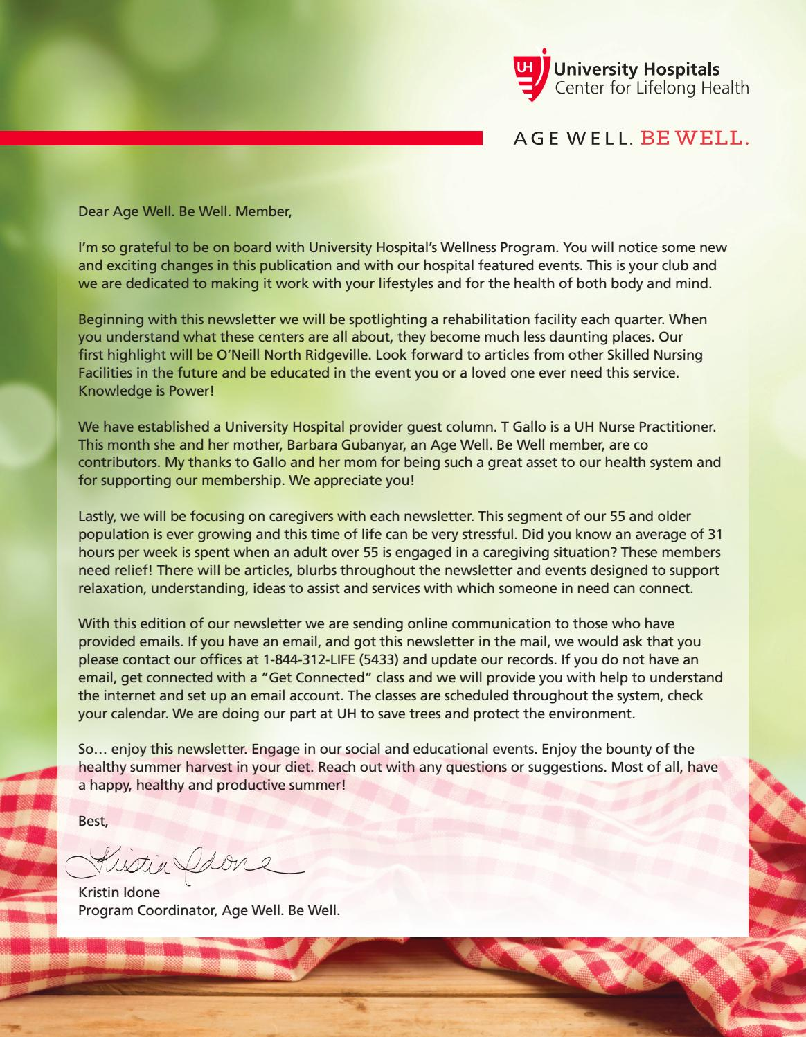 University Hospitals Age Well Be Well Newsletter, West by UH