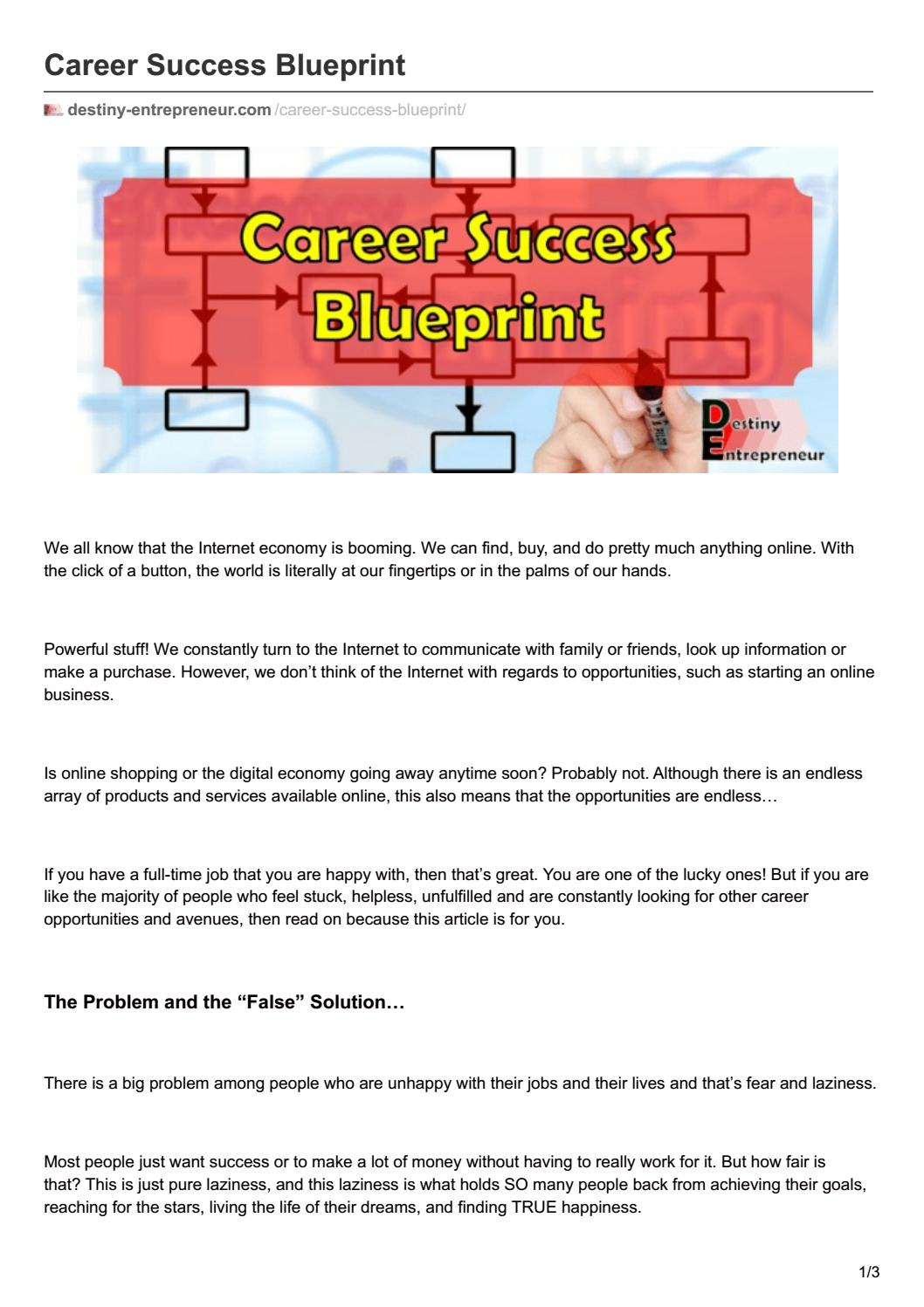 Career success blueprint by destiny entrepreneur issuu malvernweather Gallery