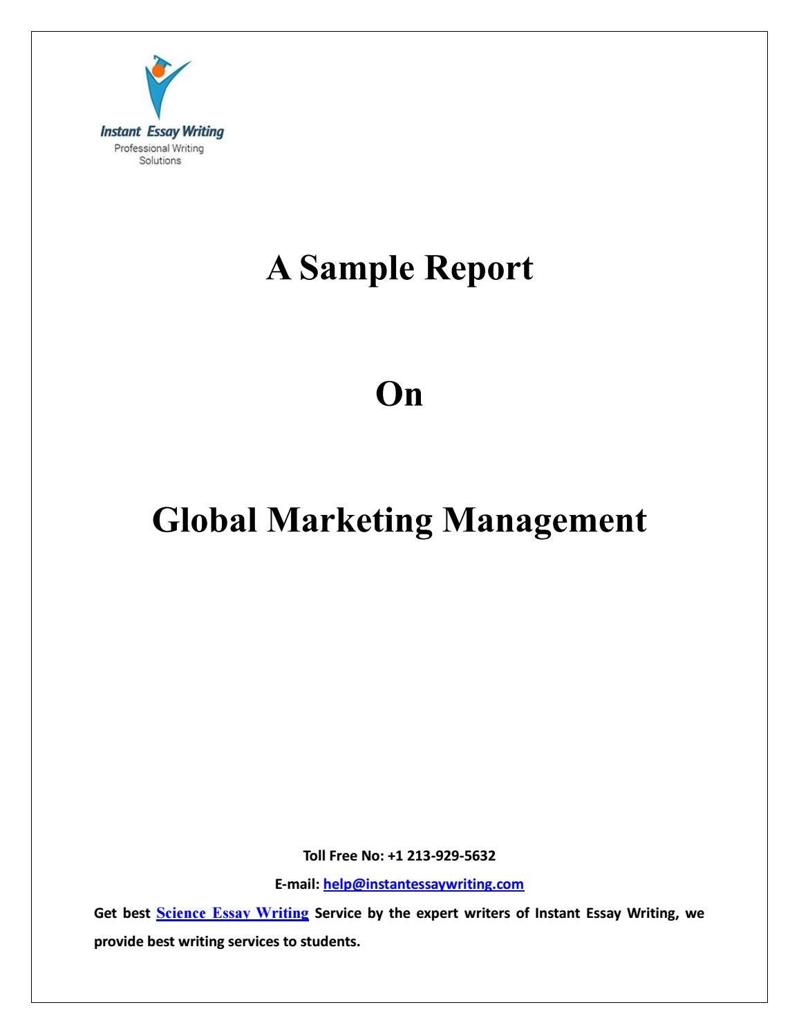 sample on global marketing management by instant essay writing by  sample on global marketing management by instant essay writing by instant essay writing issuu