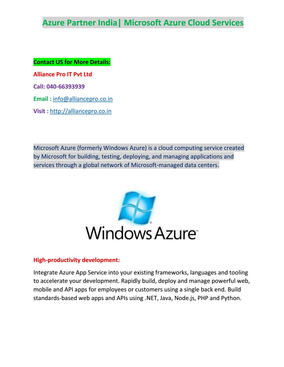 Windows Azure Cloud Service Provider in India-Alliance Pro by