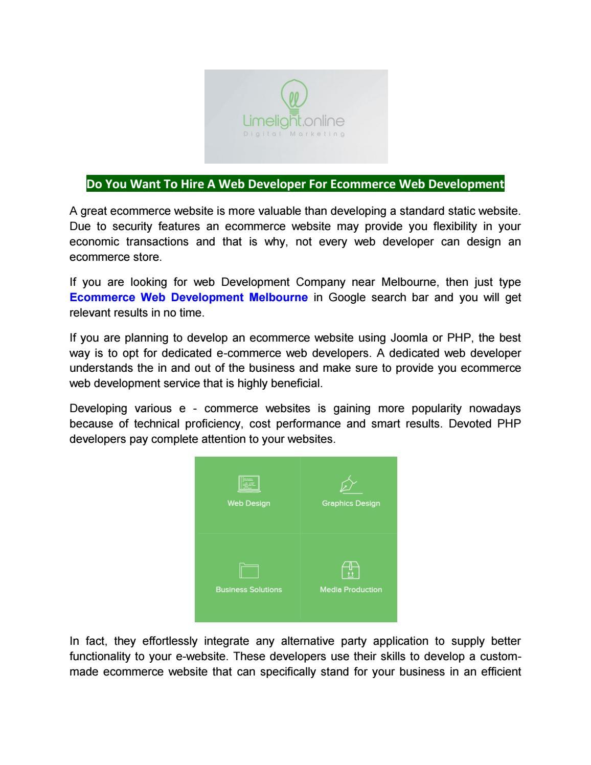Web Design Services Melbourne Ecommerce Hosting Melbourne By Limelightonline Issuu
