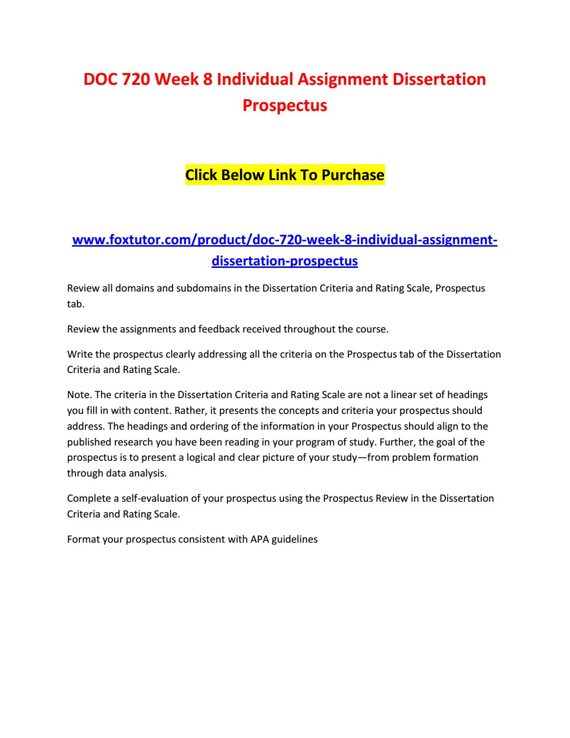how to write a dissertation prospectus