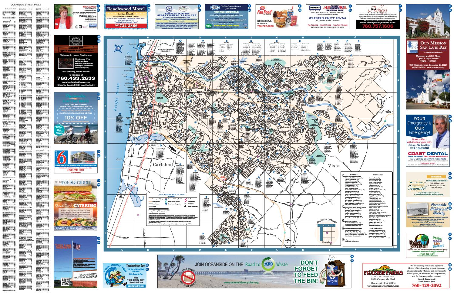 City Of Oceanside Full Size Street View Map 2015 2017 By Oceanside Chamber Of Commerce Issuu