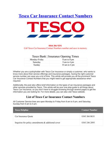 Tesco Car Insurance Contact Numbers By Phone Number Customer Service