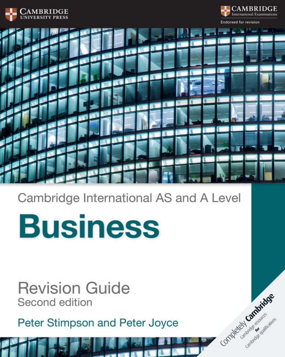 Preview Cambridge International As And A Level Business Revision Guide By Cambridge University Press Education Issuu