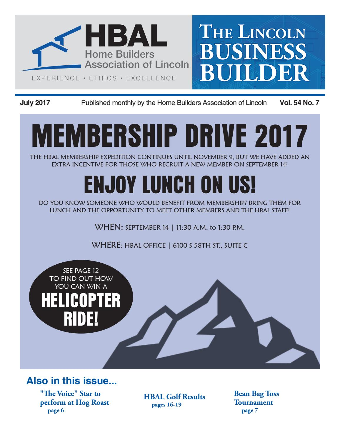 Lincoln Business Builder (July 2017) by Home Builders Association of ...