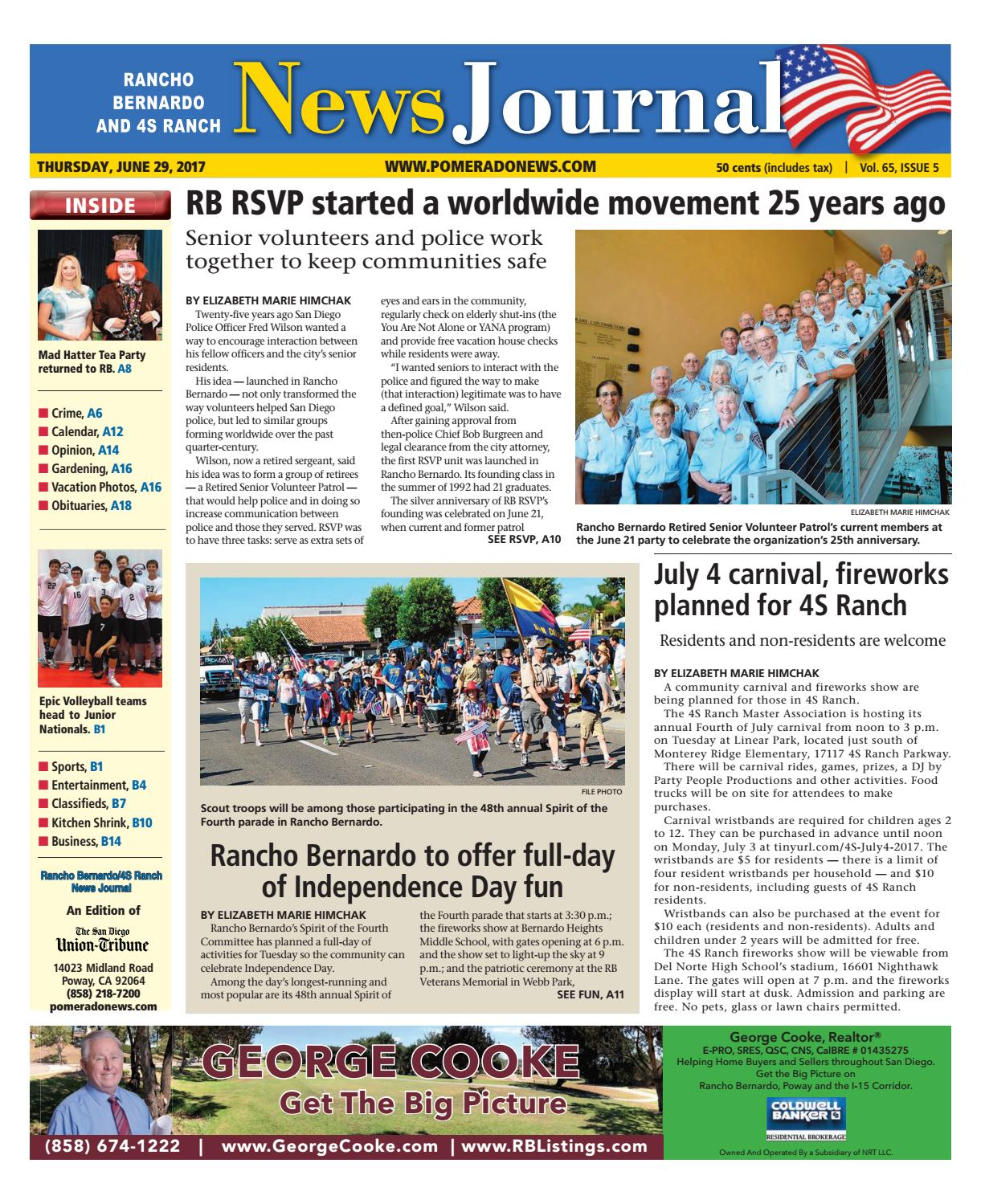 Rancho Bernardo News Journal 06 29 17 by MainStreet Media