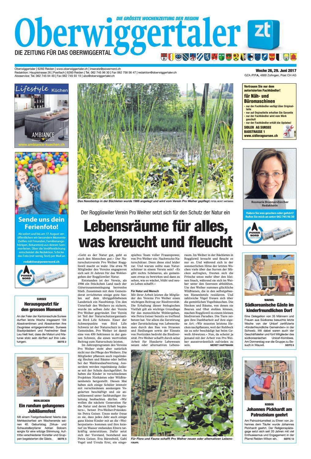 Oberwiggertaler Medien 26/17 by ZT Medien Oberwiggertaler AG issuu 4351d1