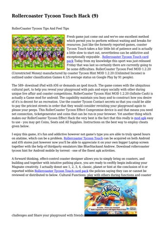 Rollercoaster Tycoon Touch Hack (9)    by tricia6joyce8 - issuu