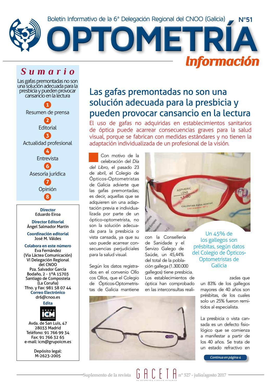 d662562545 Boletín julio/agosto Colegio de Ópticos-Optometristas de Galicia by Ópticos  optometristas de Galicia - issuu
