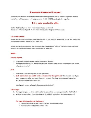 University Apartments Roommate Agreement By Uw Madison Housing  Issuu