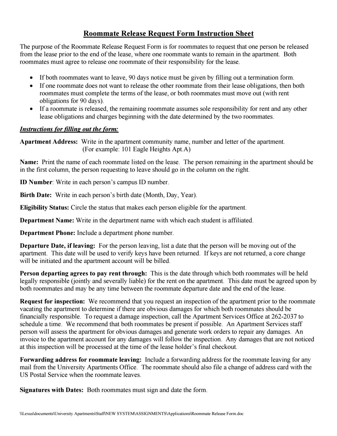 university apartments roommate release form by uw madison