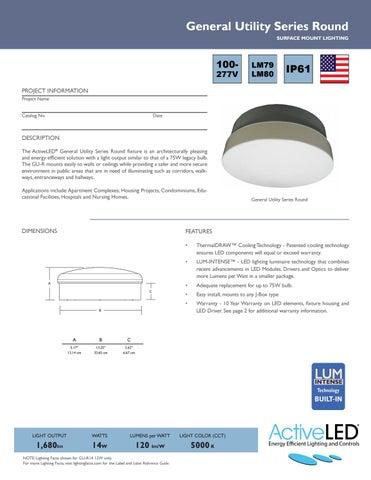 gur series general utility round led area light