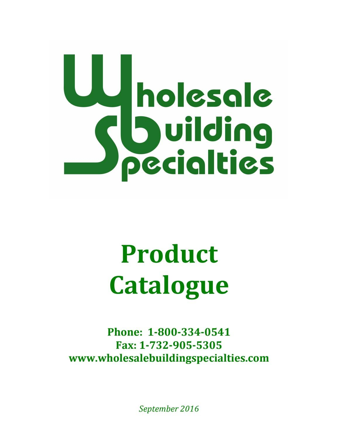 Wholesale Building Specialties - Product Catalogue by WBS
