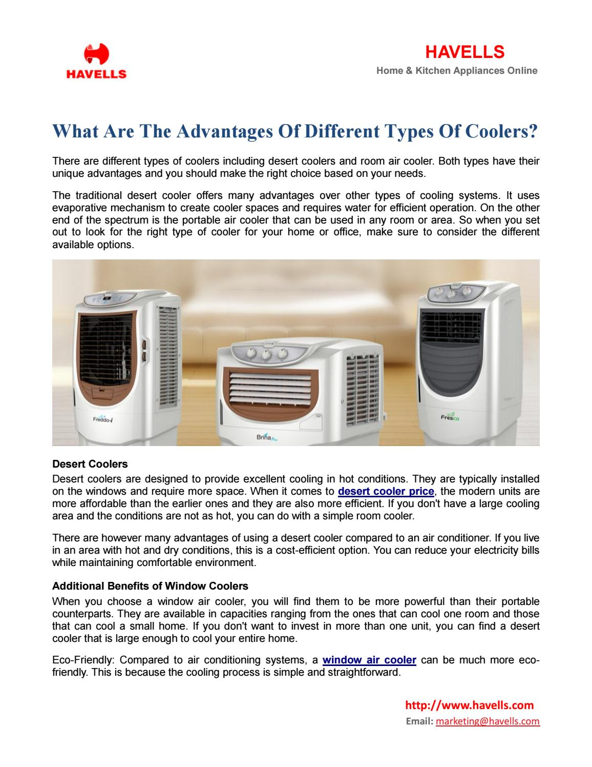 What are the advantages of different types of coolers doc by Nancy ...