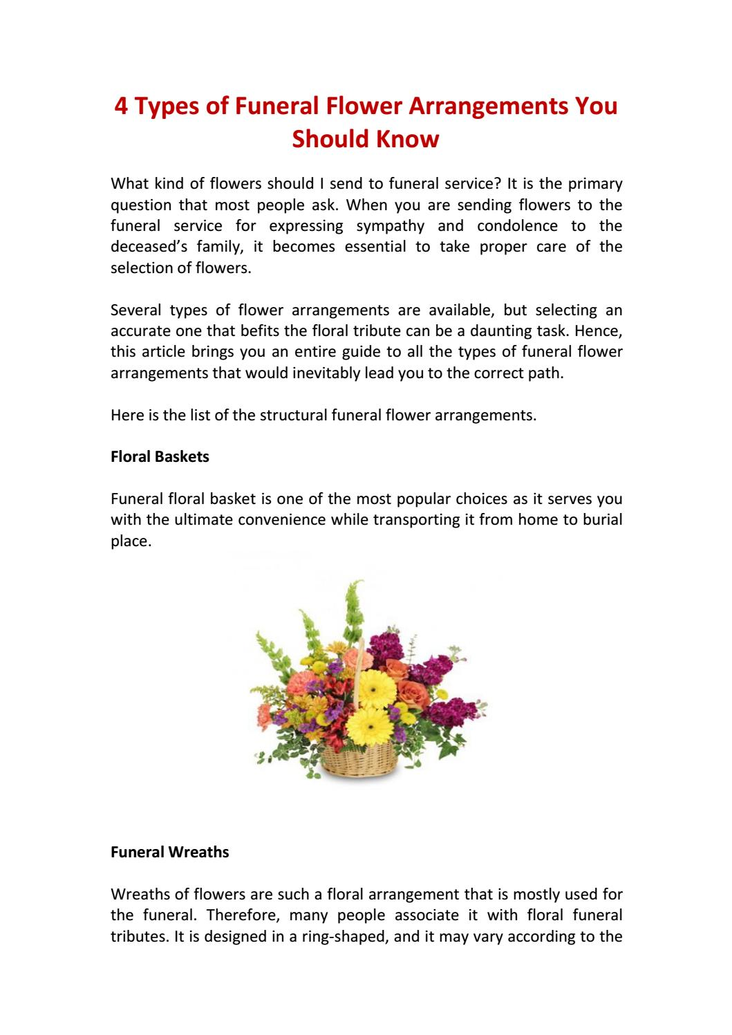 4 types of funeral flower arrangements you should know by 4 types of funeral flower arrangements you should know by flowersandsympathy issuu izmirmasajfo