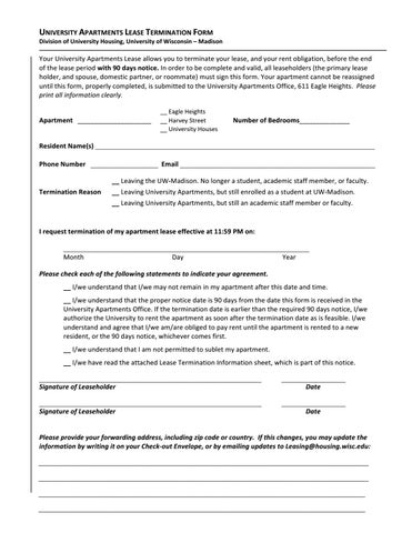 University Apartments Lease Termination Form By Uw Madison