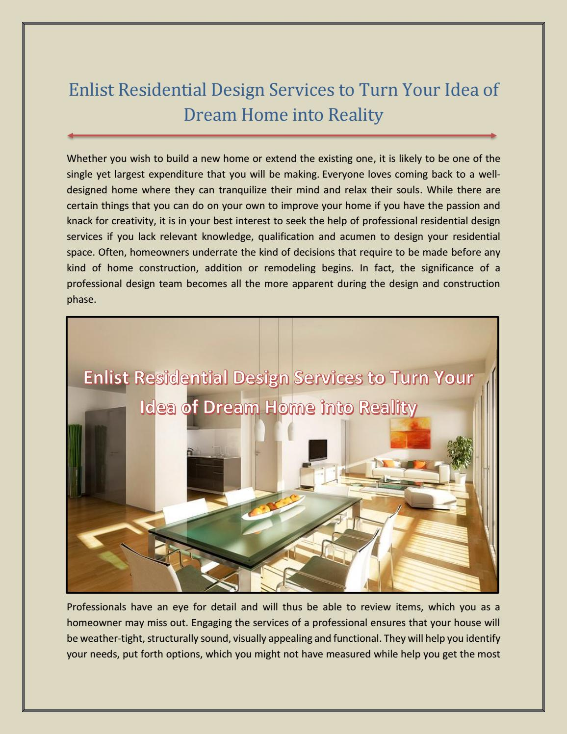 Enlist Residential Design Services to Turn Your Idea of Dream Home ...