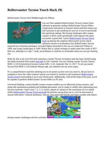 Rollercoaster Tycoon Touch Hack (9)    by dirtylatch9427 - issuu