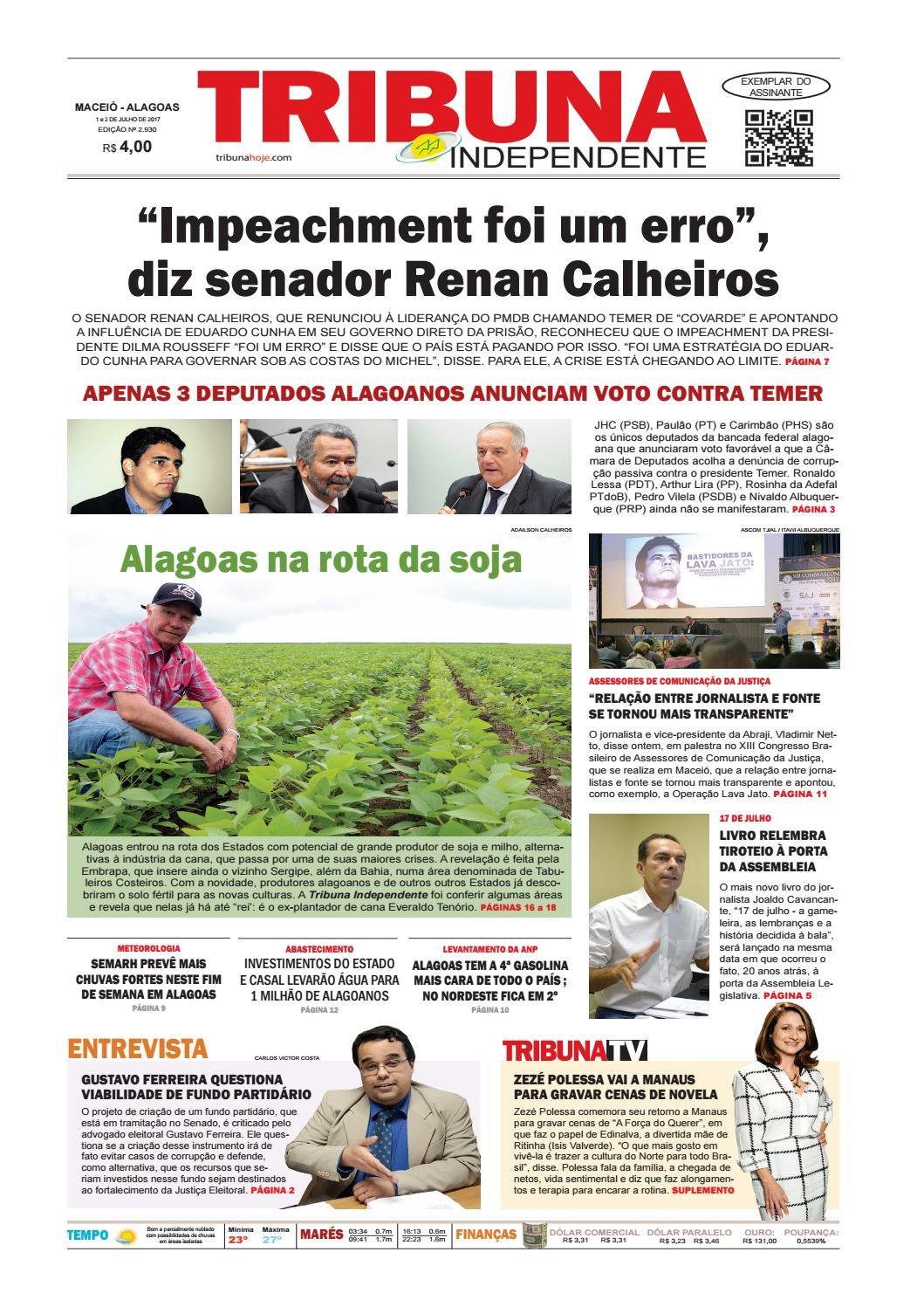 35cc0aa1780f5 Edição número 2930 - 1 e 2 de julho de 2017 by Tribuna Hoje - issuu