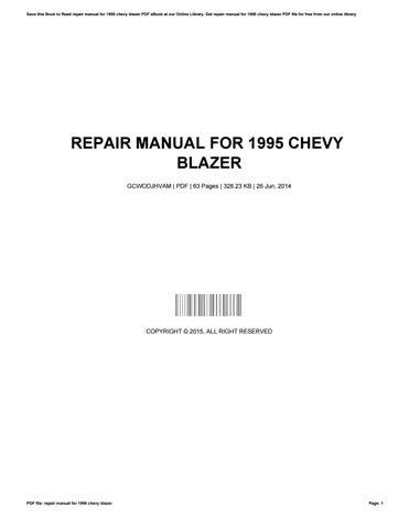 1995 chevy blazer repair manual