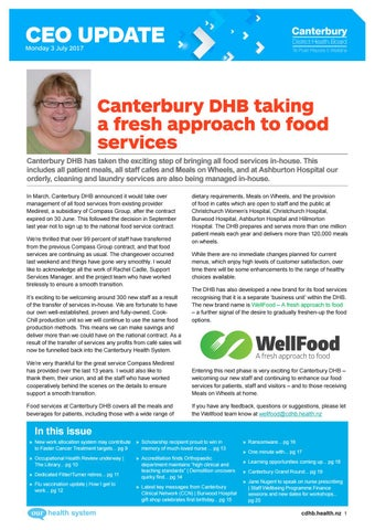 Canterbury DHB CEO Update Monday 3 July 2017