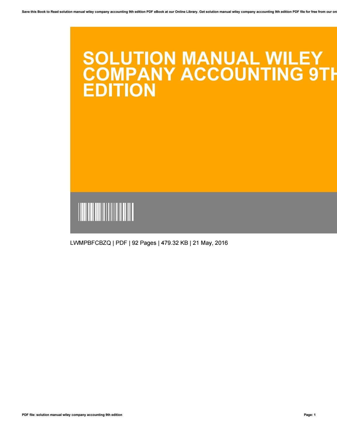 Solution manual wiley company accounting 9th edition by JoanRuff2738 - issuu