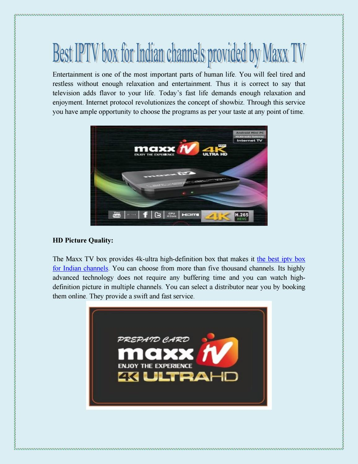 Best iptv box for indian channels provided by maxx tv by maxxtvbox