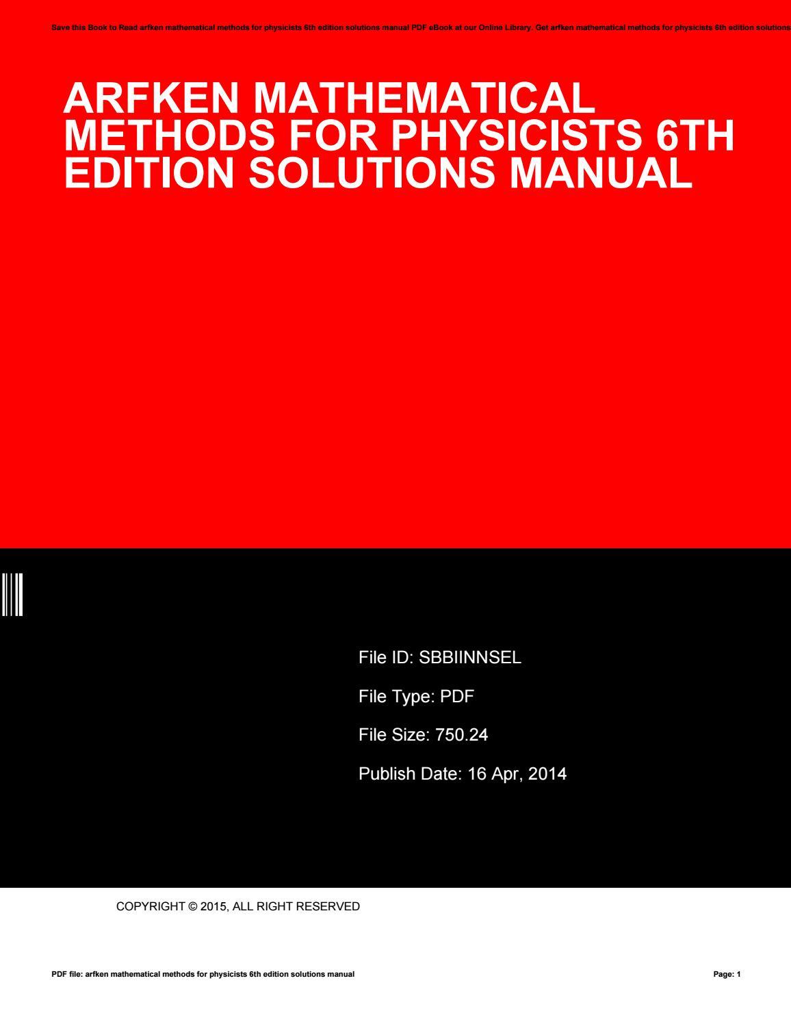 Arfken solution pdf 6th