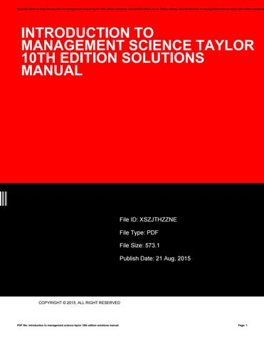 Introduction to management science taylor 10th edition solutions save this book to read introduction to management science taylor 10th edition solutions manual pdf ebook at our online library fandeluxe Image collections