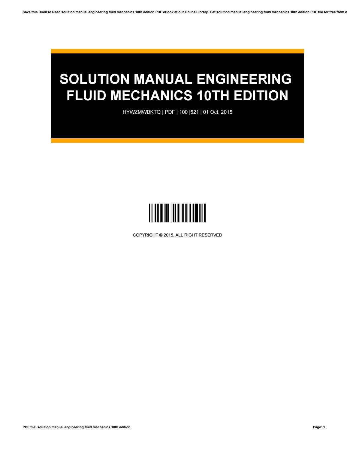 Solution manual engineering fluid mechanics 10th edition by  ChristopherMackay1411 - issuu