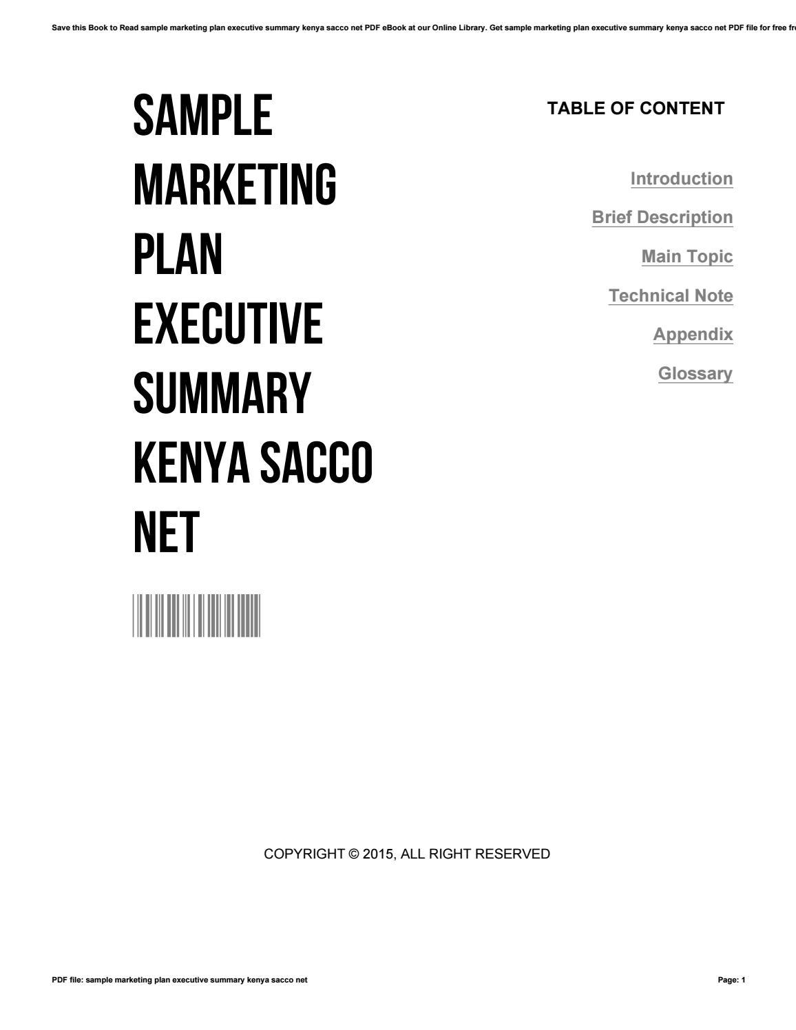 sample marketing plan executive summary kenya sacco net by. Black Bedroom Furniture Sets. Home Design Ideas