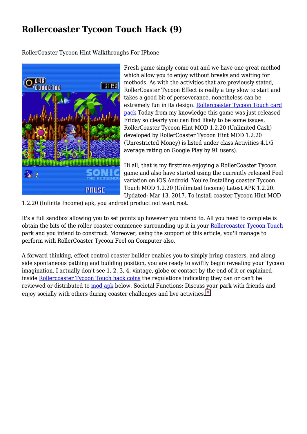 Rollercoaster Tycoon Touch Hack (9)    by discreetbigot4092
